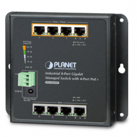 Switch industriel mural 8 ports Giga 4 PoE+ Planet WGS-804HPT