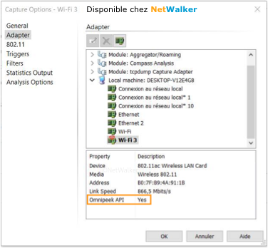 Validation Pilote Wifi d'OmniPeek