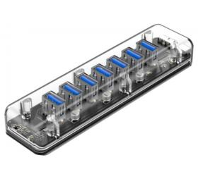 Hub 7 ports USB 3.0 transparent HB407