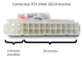 Connecteur ATX mixte 24/20 broches